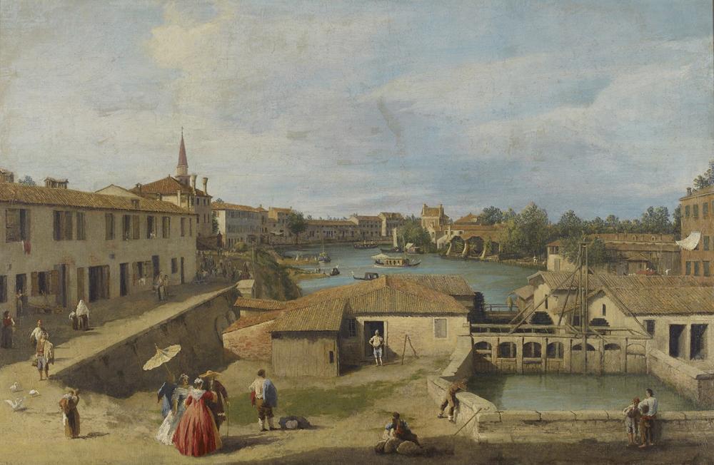 Canaletto - Dolo View and lock with Burchiello in background - Ashmolean Museum, Oxford
