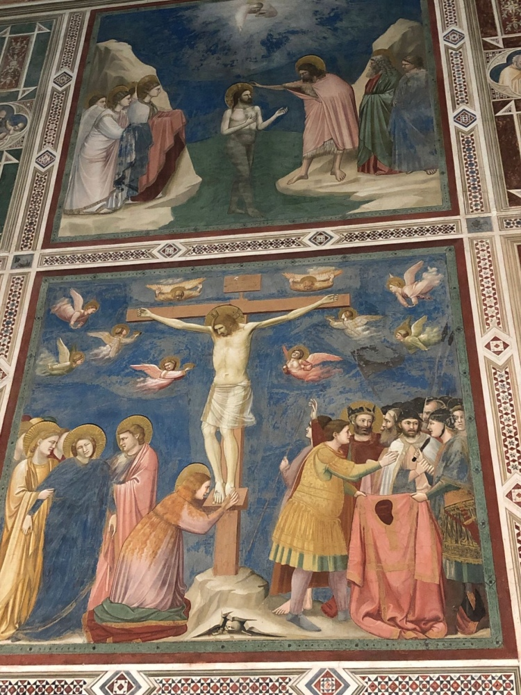 Jesus is nailed to the cross and above Baptism in River Jordan - Giotto Frescoes, Scrovegni Chapel, Padova