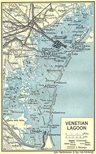Venice - the lagoon is roughly 80 kms - north to south and 30 kms west - east. A vast, natural harbour, filled with numerous islands and mudflats.
