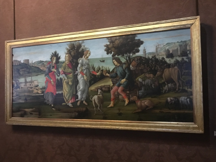 Botticelli's 'Judgement of Paris' hangs in the Palazzo Cini, Paris