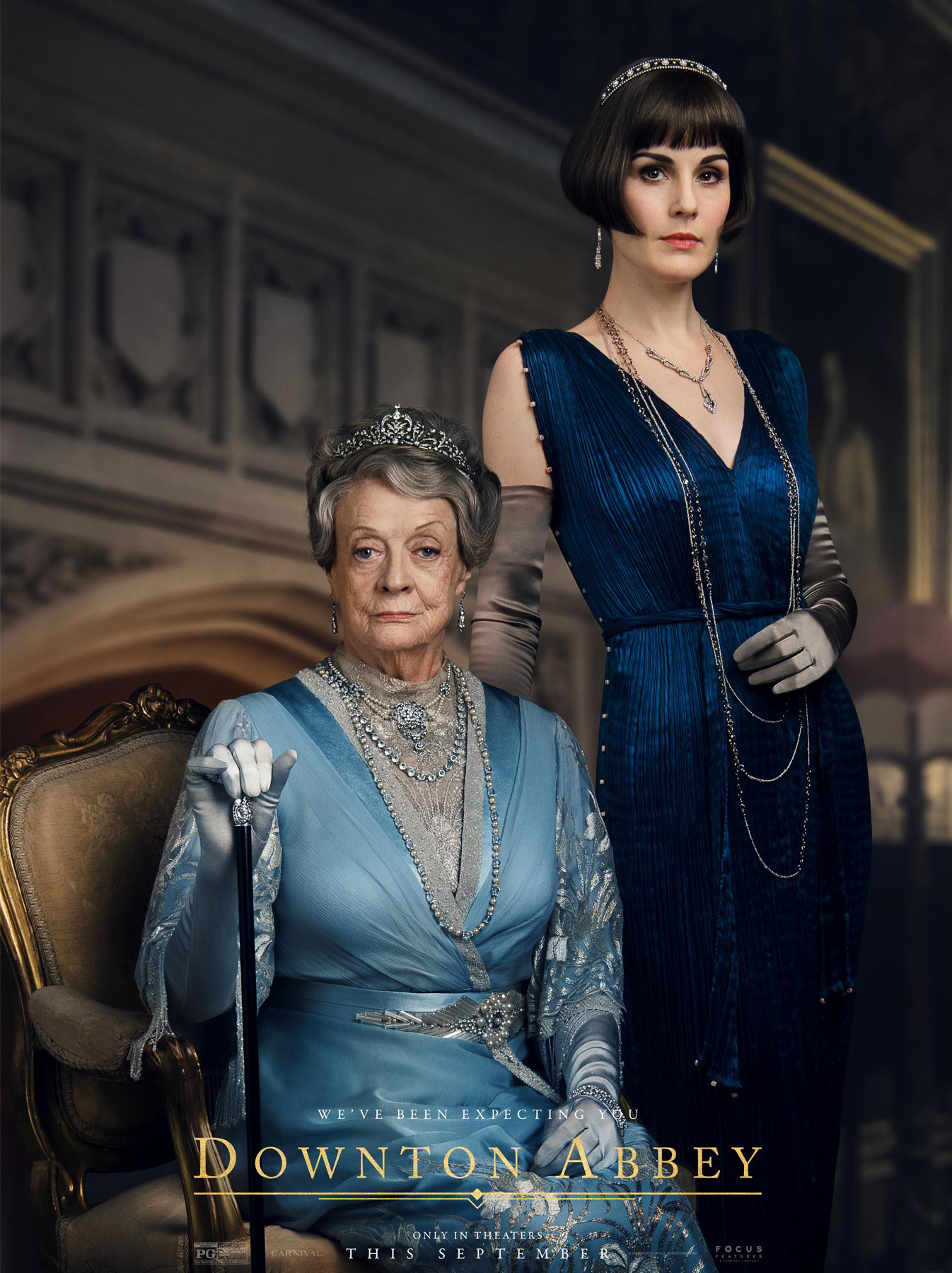 Lady Mary wears a navy blue, pleated silk 'Delphos' gown inspired by 'Fortuny' design. Downton Abbey (2019)