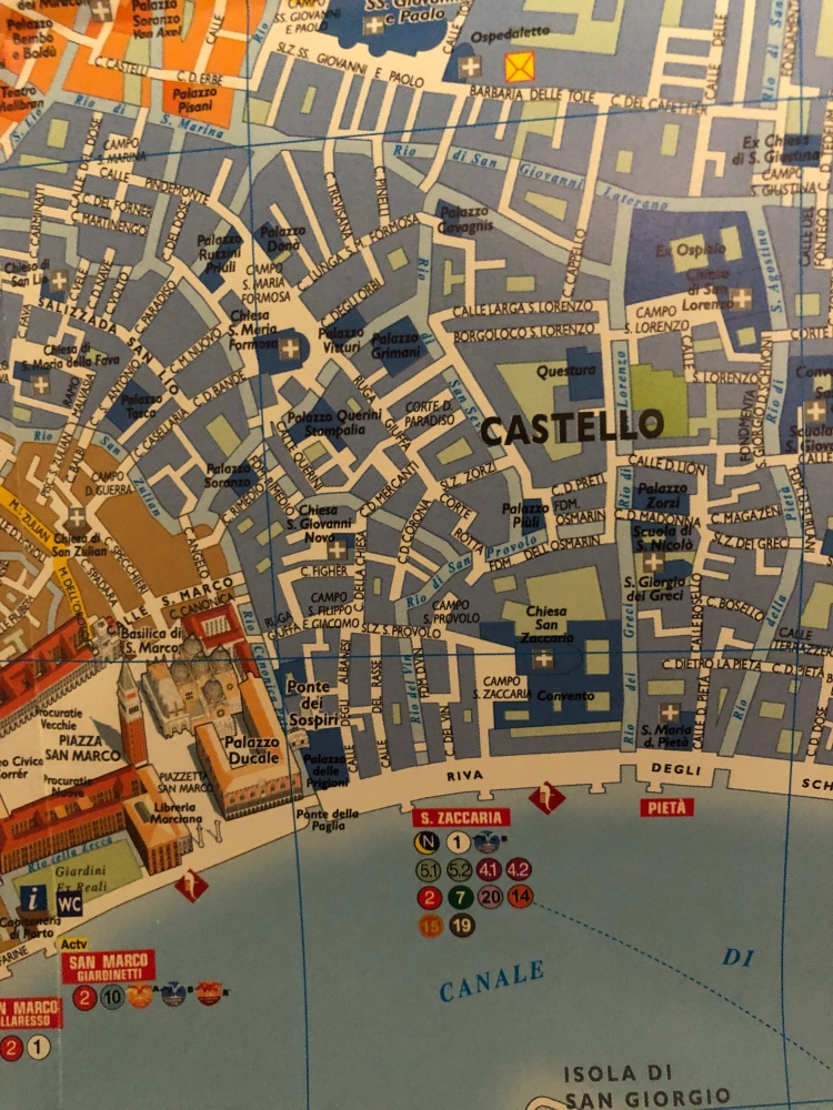 The Venetian district of Castello, borders the sestiere of San Marco, San Zaccaria is right of centre.