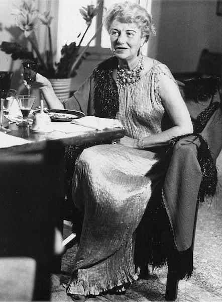 Peggy Guggenheim wearing a Delphos Gown, Venice c.1950