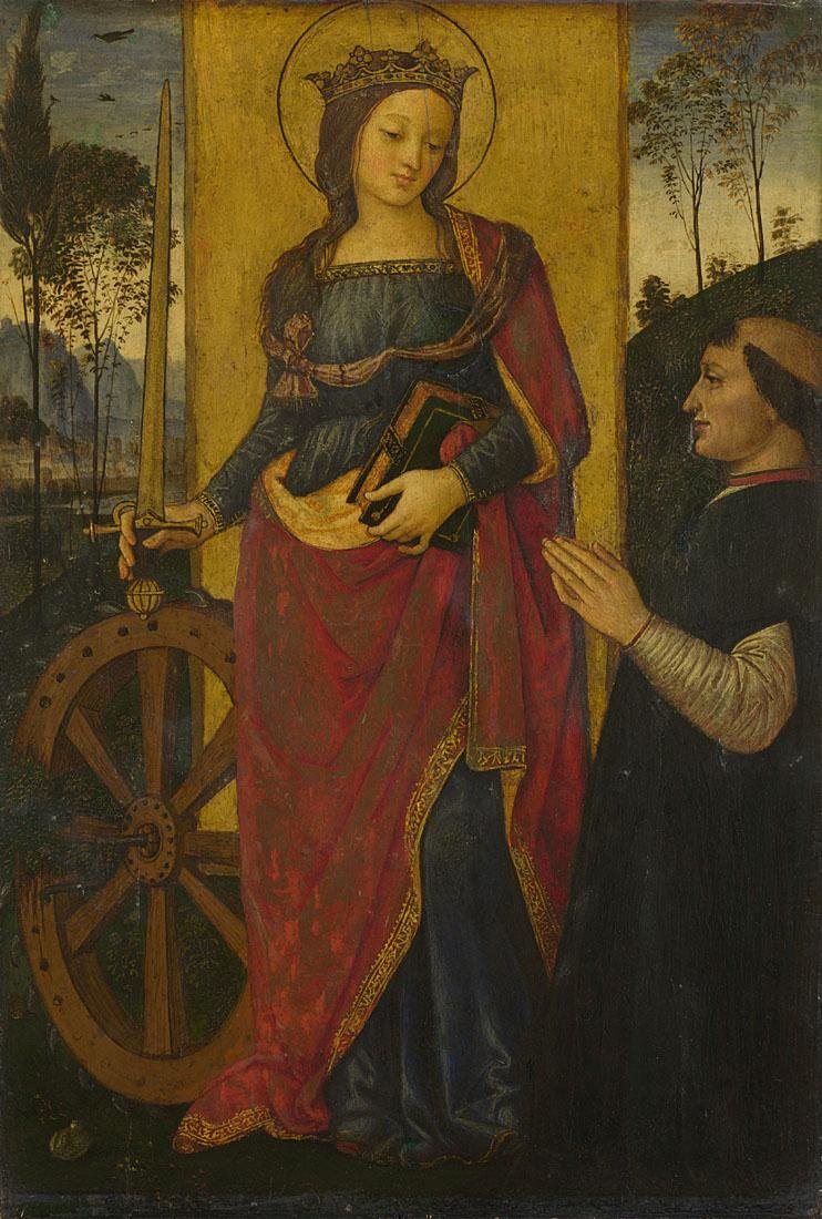 Saint Catherine of Alexandria, with a donor 1480-1500 by Pintoricchio