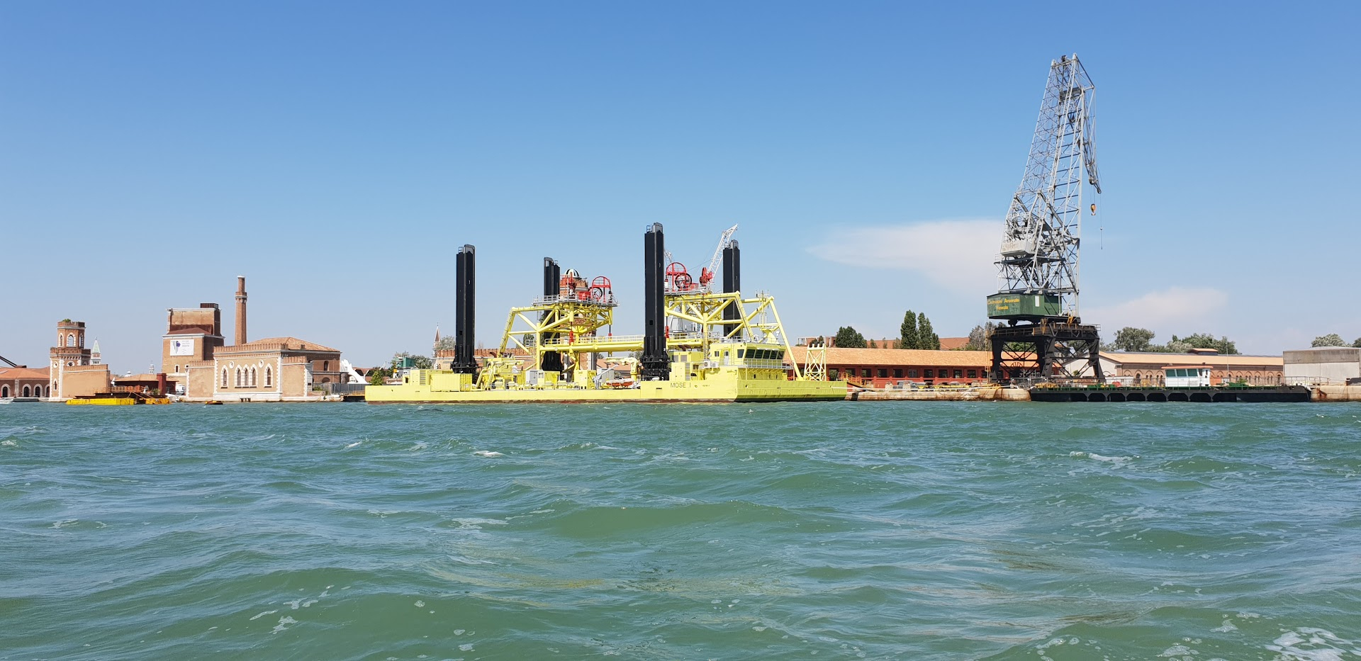 Venice - This is the MOSE Barge that is being used to position the various components of the 'flood barrier' at the mouth of the lagoon. Photo - Sept 2019 www.educated-traveller.com