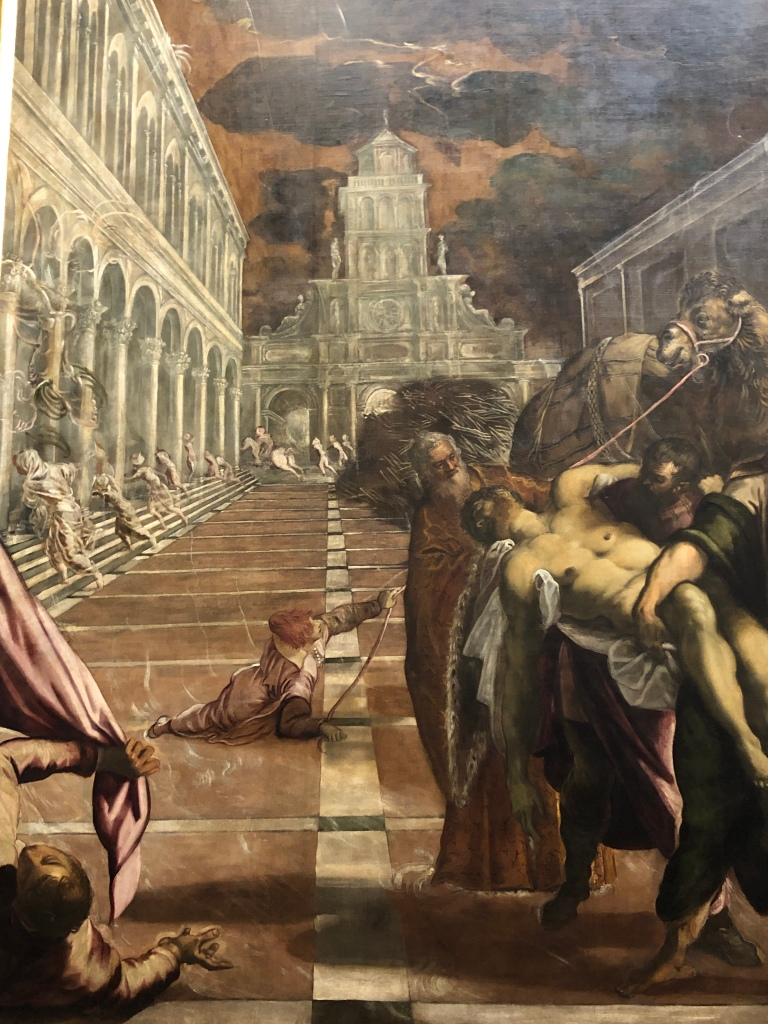 The arrival of St Mark's body in Venice, by the great master Tintoretto. Ethereal imaginary painting. Ghostly in its construction, souls fleeing from the square?!