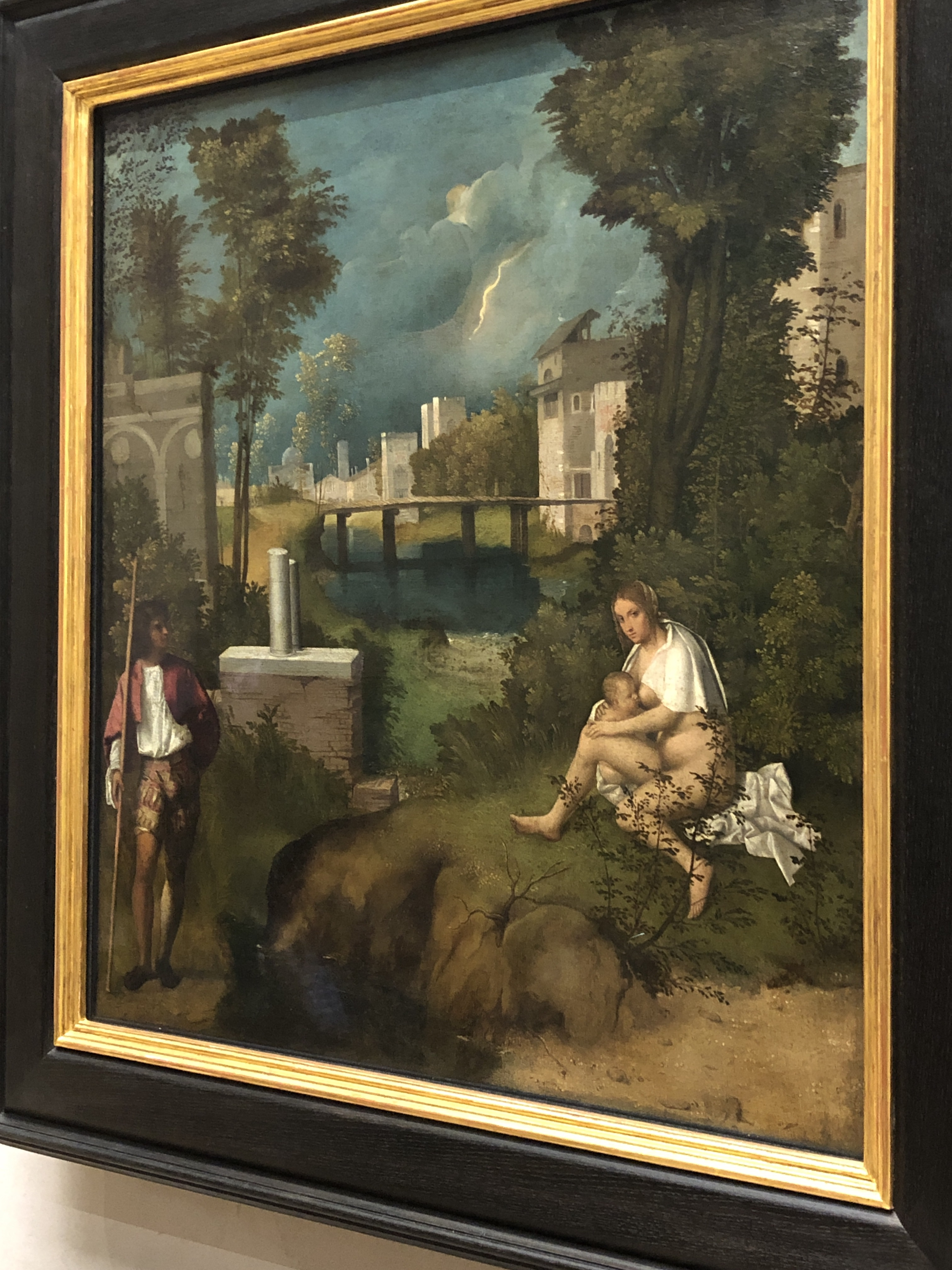 Giorgione's The Tempest' is a masterpiece of colour, mood & composition. c. 1506