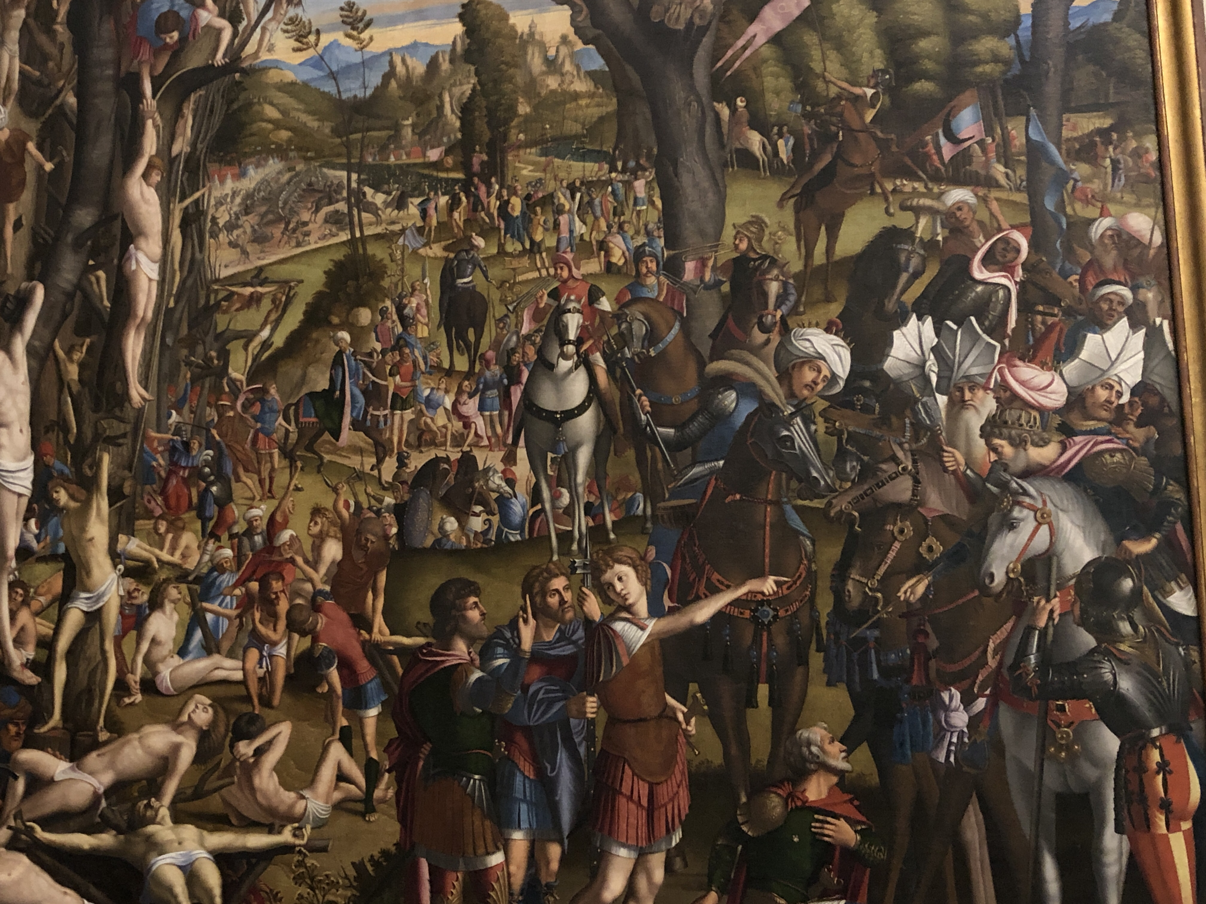 Carpaccio's command of crowd scenes in quite exceptional, exotic head wear is the order of the day.