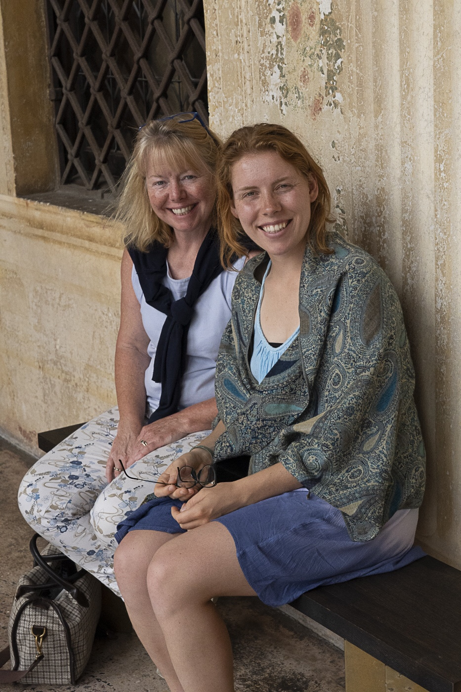 Visiting Villa Emo - September, 2019 - Janet and Lulu Simmonds appreciate the frescoed portico. Visiting with our friend Nicole Friedler. www.nicolefriedler.com