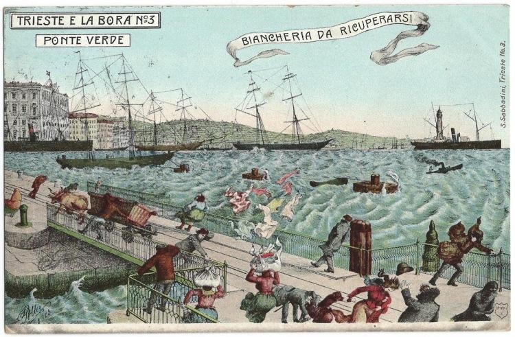 Trieste - fabulous early 20th century cartoon depicting the famous Bora wind