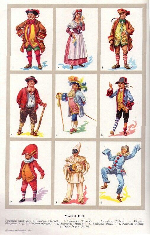 Italy - Carnival Characters, each associated with a certain area