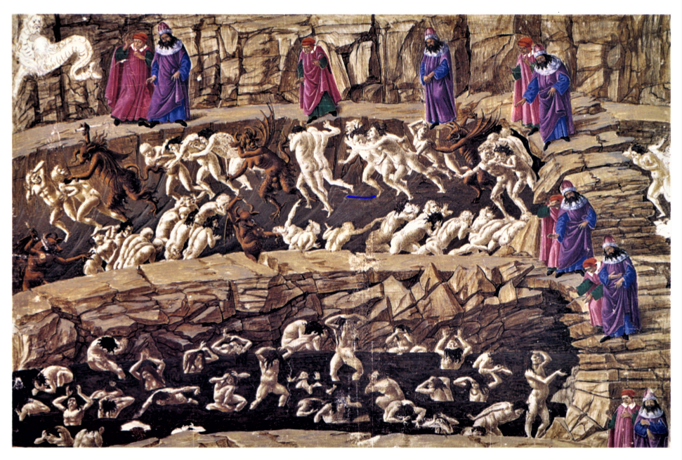Inferno, illustration by Sandro Botticelli - Inferno, 8th Circle of Hell. Dante and Virgil appear six times as they descend through the chasms.