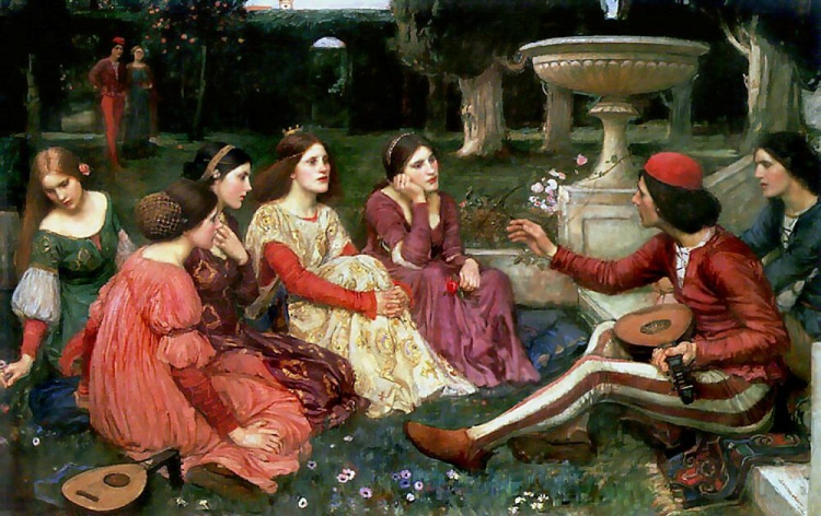 The Decameron (1915) painted by JW Waterhouse. This lovely painting hangs in the Lady Lever Art Gallery, Port Sunlight, England.