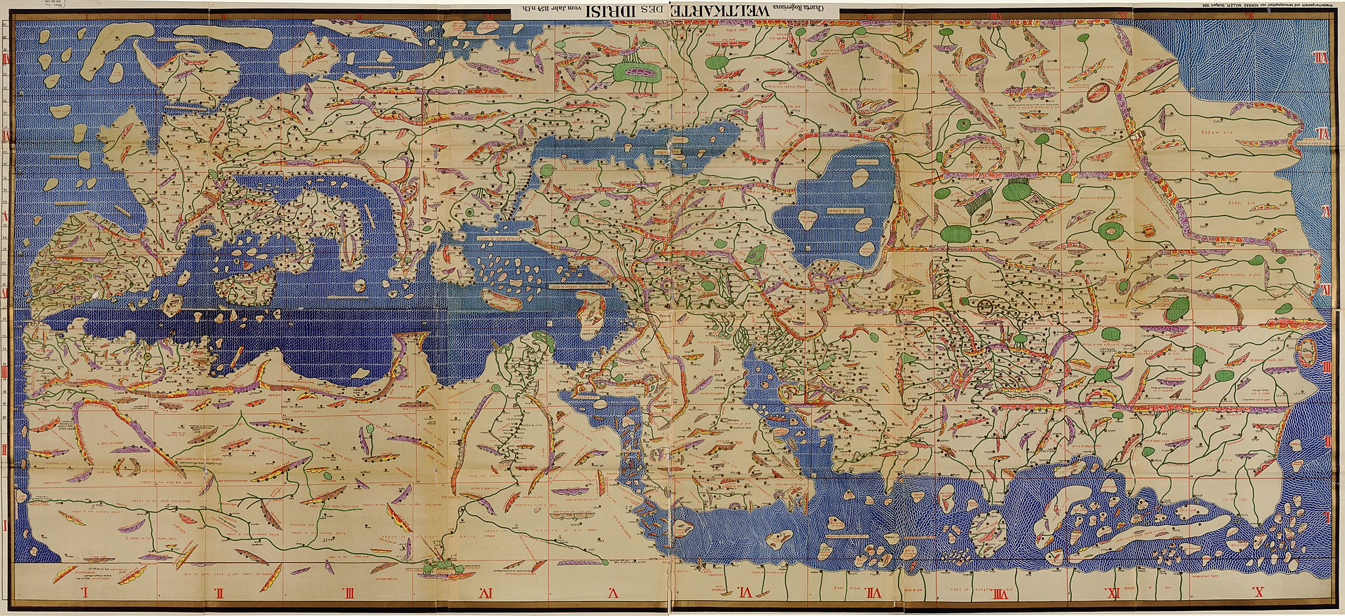 Medieval Map (1154) created by Geographer Al Idrisi at Court of Ruggero II, Sicily