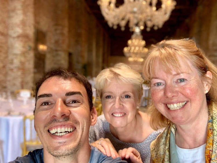 Wedding planner Jayne, DJ & Lighting wizard Marco and Janet (myself) the wedding planner's assistant. Cipriani Hotel, Venice - June 2019