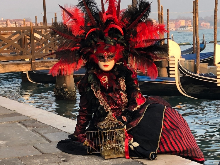 Venezia Carnevale - February 2020 exotic in black and red, feathers and bird cage