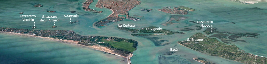 Venice and islands - showing 'Quarantine Islands' of Lazzaretto Vecchio and Lazzaretto Nuovo