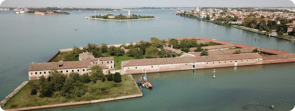Venice - the lagoon with Quarantine island Lazaretto Vecchio in the foreground