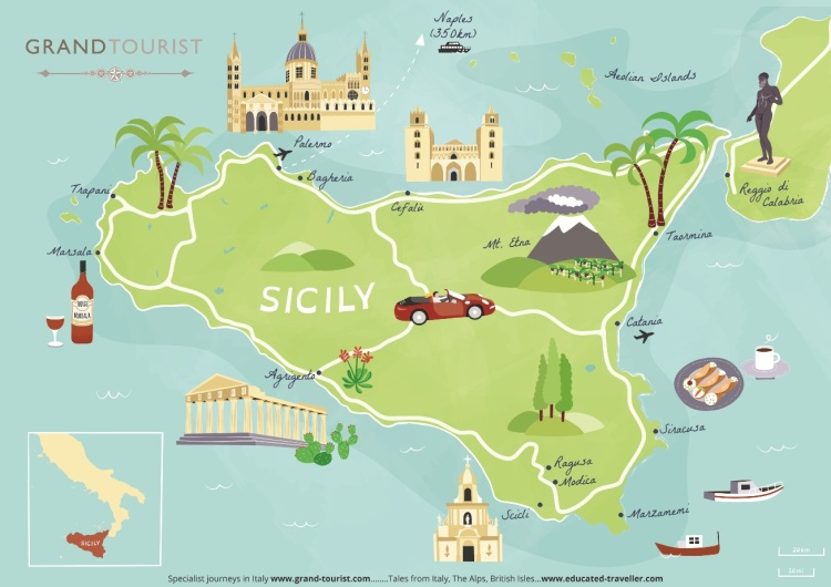 Sicily Map commissioned for Grand Tourist - 2020 - artist Bek Cruddace