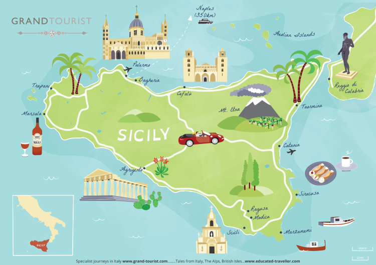 Sicily Map - large - commissioned by Grand Tourist - artist Bek Cruddace