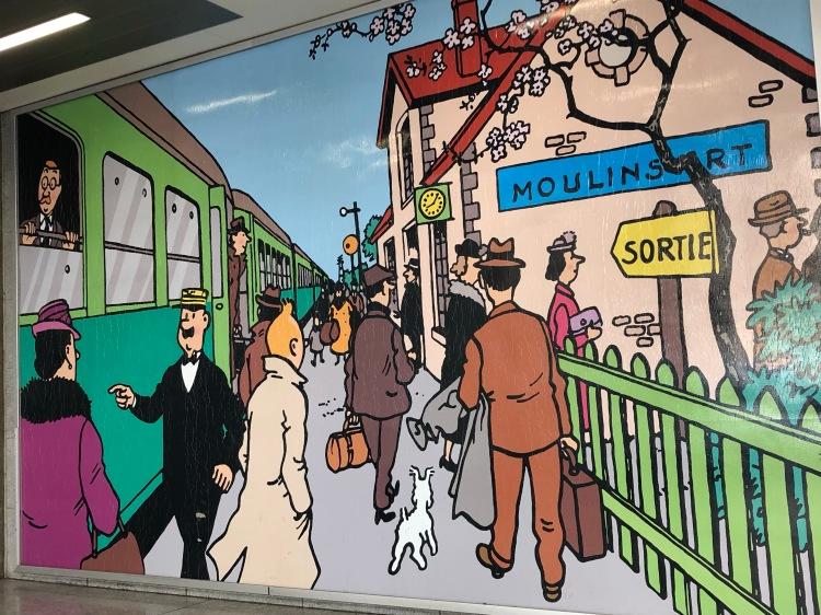 Brussels Station, Herge - Tintin illustration c. 1930s www.educated-traveller.com