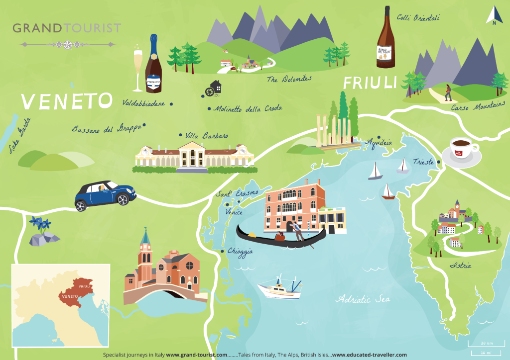 Grand Tourist Map of Veneto & Friuli regions by talented artist Bek Cruddace, commissioned by www.educated-traveller.com