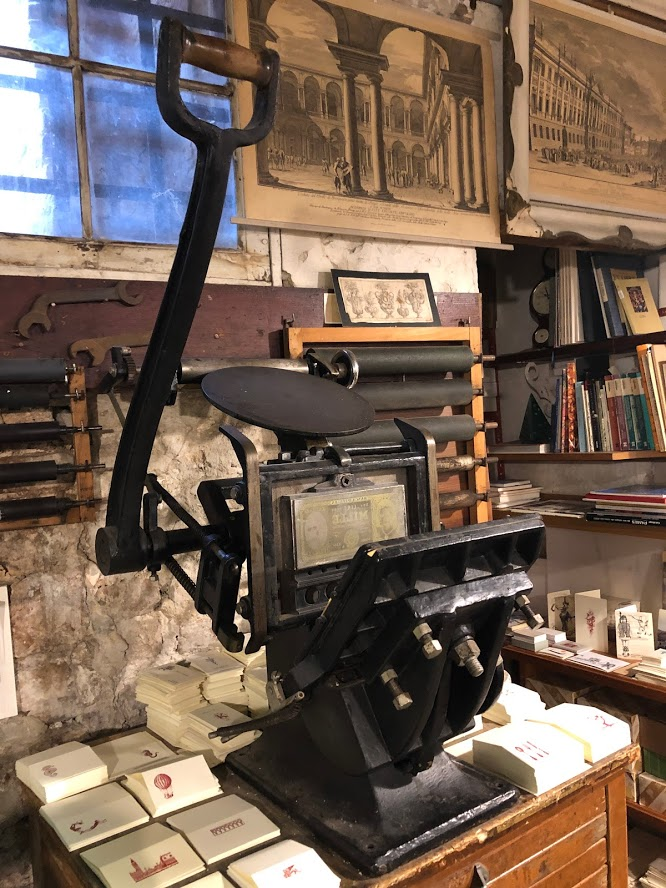 One of the manual presses saved from the Armenian island of San Lazzaro when the monks decided to modernise! Now proudly displayed and used in Gianni Basso 'Stamperia' Castello, Venezia