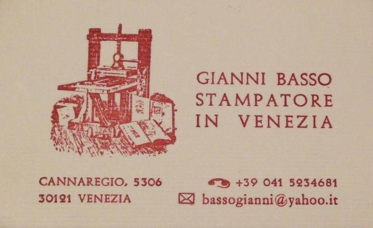 Gianni Basso - Stamperia, Venezia