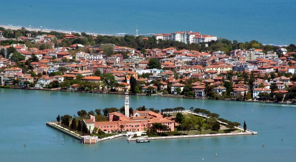 The island of San Lazzaro degli Armeni with Lido di Venezia in the background.