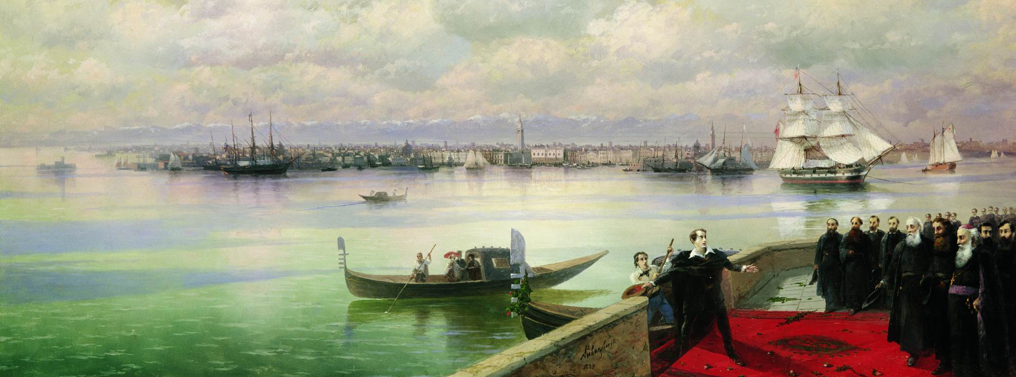Byron's visit to the island of San Lazzaro, Venice - painted by Ivan Aivazovsky (1899)