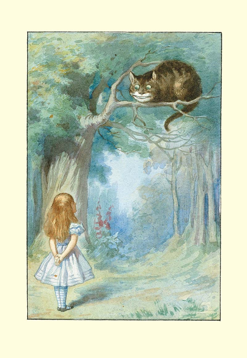 Alice's Aventures in Wonderland - Alice meets the Cheshire Cat. Illustration John Tenniel