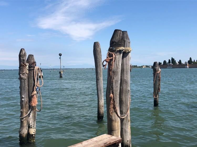 Leaving Venice - lagoon, briccole and San Michele