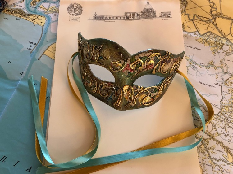 Venice - my recently purchased mask - luxurious finished in green and gold