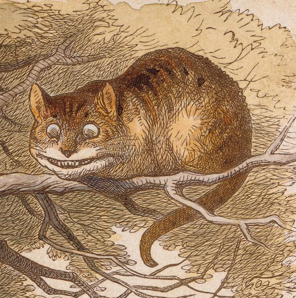 Cheshire Cat by John Tenniel - the cat sits on the branch of a tree