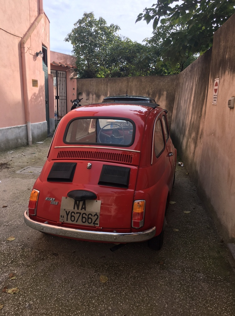 On Procida a suitable car on the tiny roads is the iconic Fiat 500