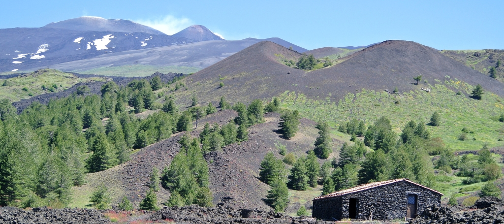 Mount Etna - from the south, superb photo by: Mark Wilson - Dept of Geology, College of Wooster, Ohio - thank you Mark