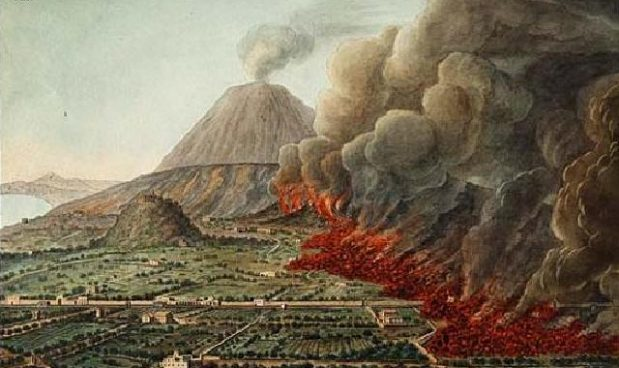 Bay of Naples and Vesuvius - 18th century painting showing the Flegrian Fields smoking and burning.