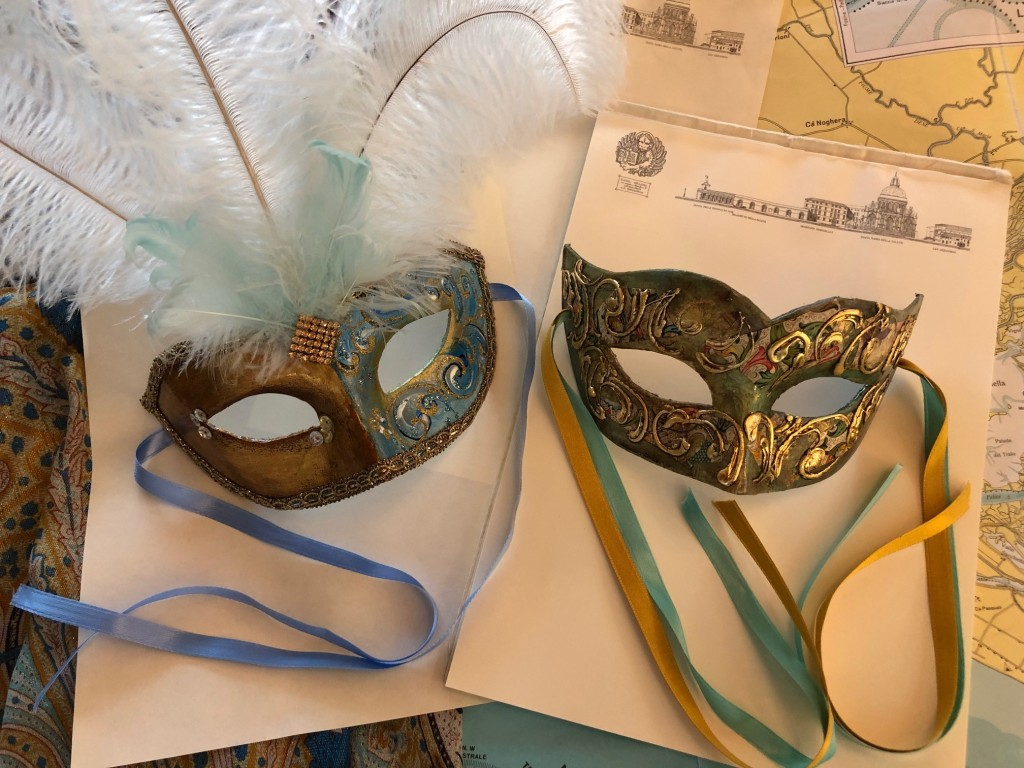 Venice - mask maker, sublime colours, Carnevale 2020. Masks by Roberta Carrara. Photo: www.educated-traveller.com