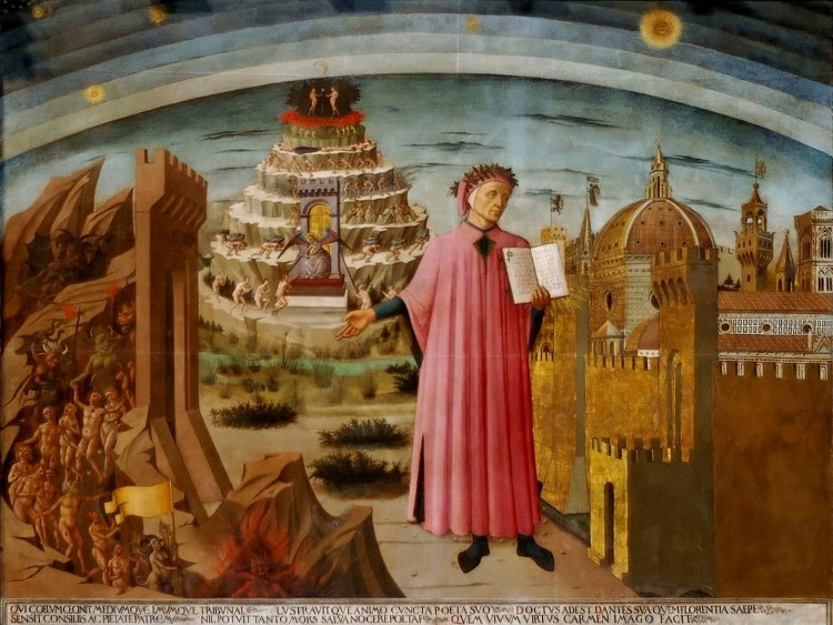 Dante's Commedia - a painting by Domenico di Michelino (1456) which hangs in the Duomo, Florence.