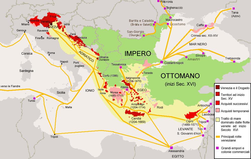 Repubblica di Venezia - extent of Venetian territories 15th and 16th centuries