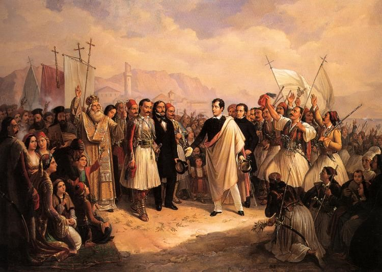 Byron supports Greek independence fighters at Missolunghi (Patras) Greece