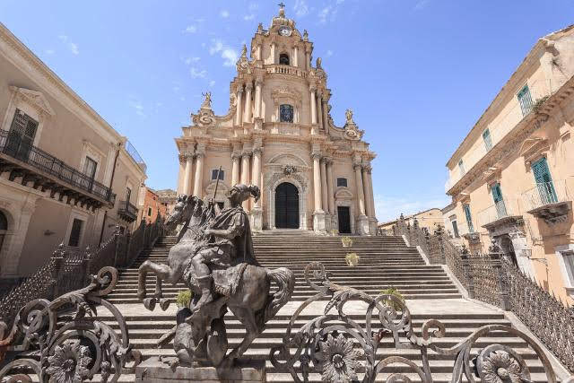 Towering Baroque church dominates the historic centre of Ragusa Ibla