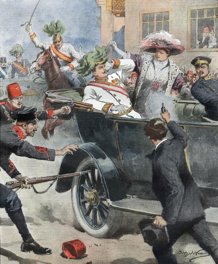 Sarajevo - imagined version of assassination of Arch Duke Franz Ferdinand in Sarajevo, 1914 - Beltrami (artist) from La Domenica del Corriere (Italy)