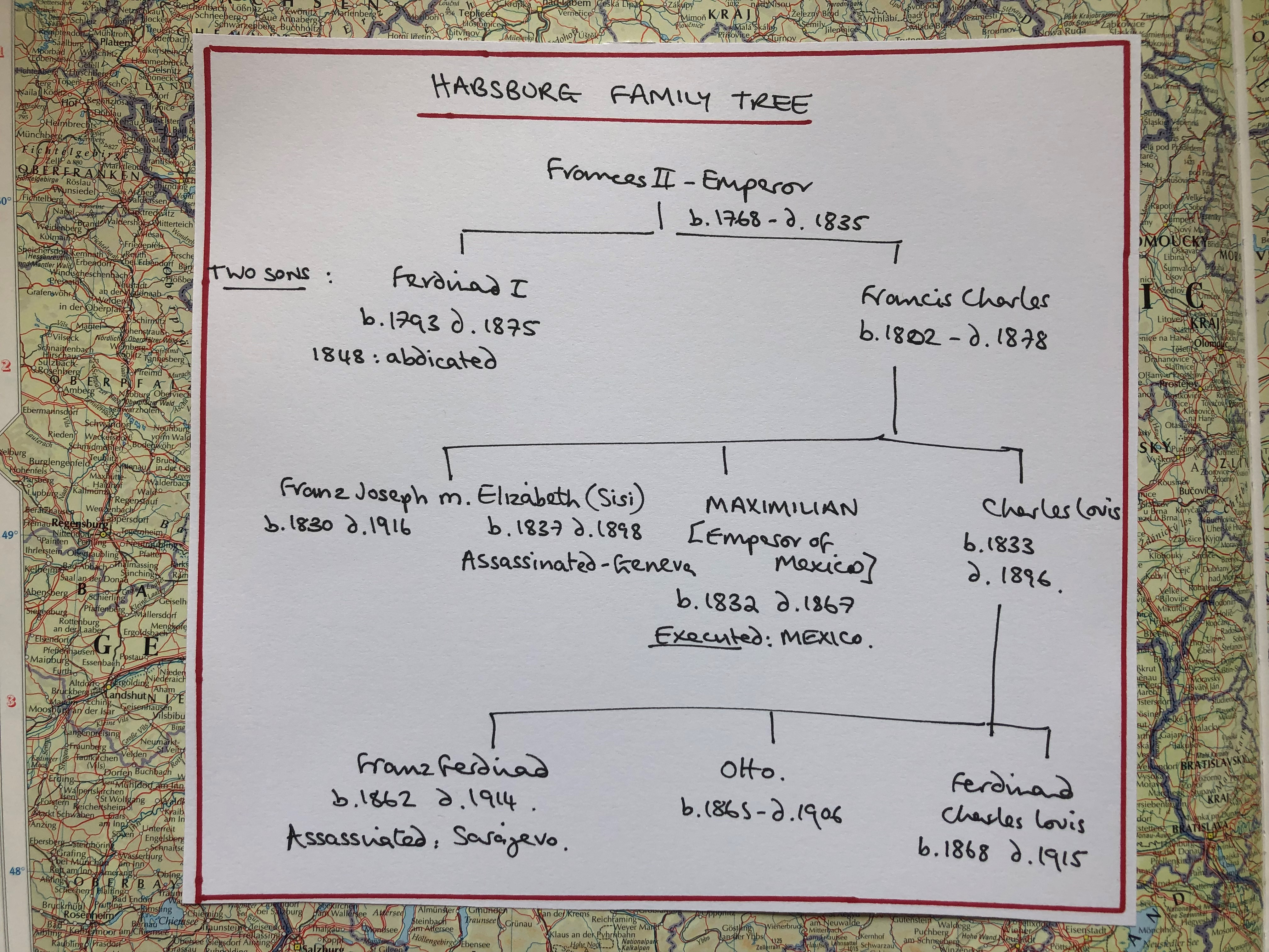 Habsburg Family Tree - inspired by a graphic from The Guardian in 1914