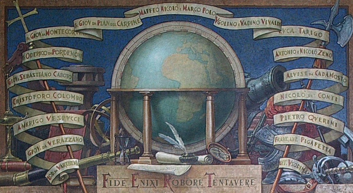Fabulous Globe Painting at Miramare listing all the great Italian explorers from Amerigo Vespucci to Marco Polo